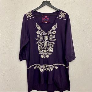 Johnny Was Purple V Neck Tunic - Sz XL